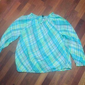 New 14/16 Lane Bryant green plaid shirt